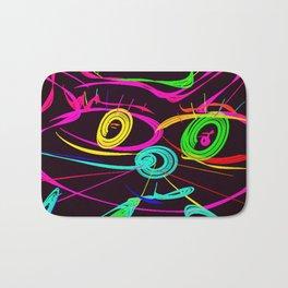 King Cat Neon Style Digital Drawing Bath Mat