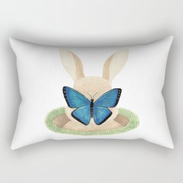 Butterfly resting on a bunny's nose Rectangular Pillow
