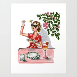 Spaghetti and a Spritz Art Print