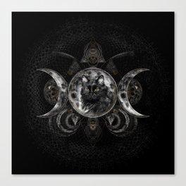 Triple Moon - Black cat Canvas Print