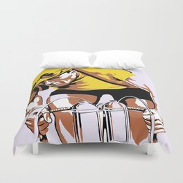 The yellow jersey (retro style cycling) Duvet Cover
