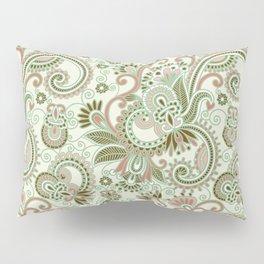 Oriental Persian Paisley, Swirls - Green Pink Pillow Sham