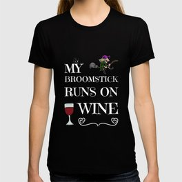 Halloween Costume Decoration Wine Lover Witch Witches Broom T-shirt