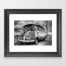 Monochrome German Camper Van Framed Art Print