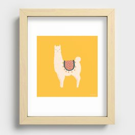 Fancy Llama - Yellow Background Recessed Framed Print