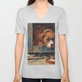 Cat Watches Birds With A Sleeping Dog - Digital Remastered Edition Unisex V-Neck