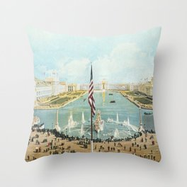 Detailed Vista of Chicago's Court of Honor and Peristyle 1893 Throw Pillow