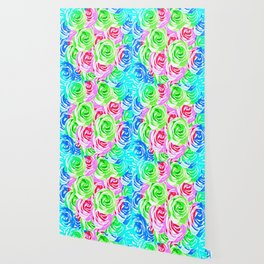 colorful rose pattern abstract in pink blue green Wallpaper