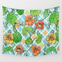 climbing Wall Tapestries featuring Climbing Nasturtiums on Blue and White by micklyn