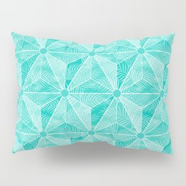 Geodesic Palm_Turquoise Pillow Sham