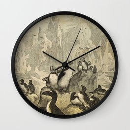 Naturalist Penguin And Puffin Wall Clock
