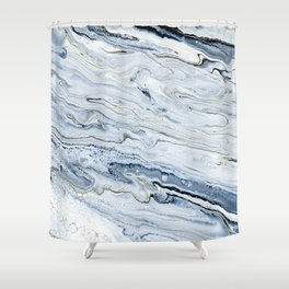 Smoke and Champagne - Marbled Painting in Gray, White, Black, Gold Shower Curtain