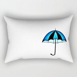 Bright Blue Black Rain Umbrella Illustration Rectangular Pillow
