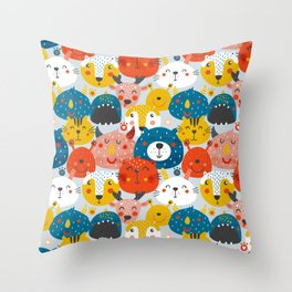Monsters friends Throw Pillow