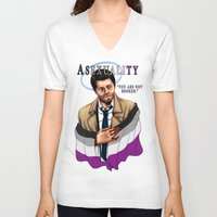 fandom V-neck T-shirts featuring Fandom Pride : Asexuality by Cinensis