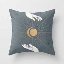 sun, moon and gold Throw Pillow