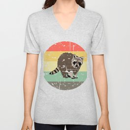 Retro Tee For Animal Lovers With A Cute Nice Illustration Of A Raccoon Forestry Animals Forester  Unisex V-Neck