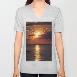 Flaming sky over Sea - Nature at its best Unisex V-Neck