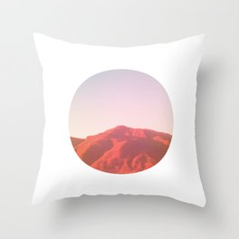 Mountain range photography in dark red, yellow and pink Throw Pillow