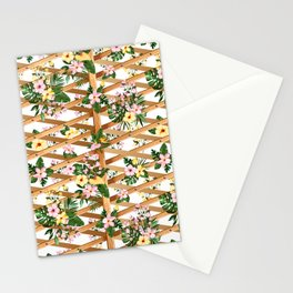 Hibiscus and Monstera Vines on Lattice Stationery Cards