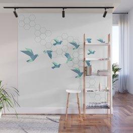 Origami birds mint grey octagon Wall Mural