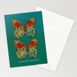Himalayan Fritillary Butterfly - Emerald Green & Orange Red Stationery Cards