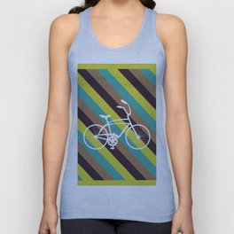 Bicycle Art Print Home Decor Living Children Room in Green Beige Brown Blue Paste Wall Graphic Unisex Tank Top