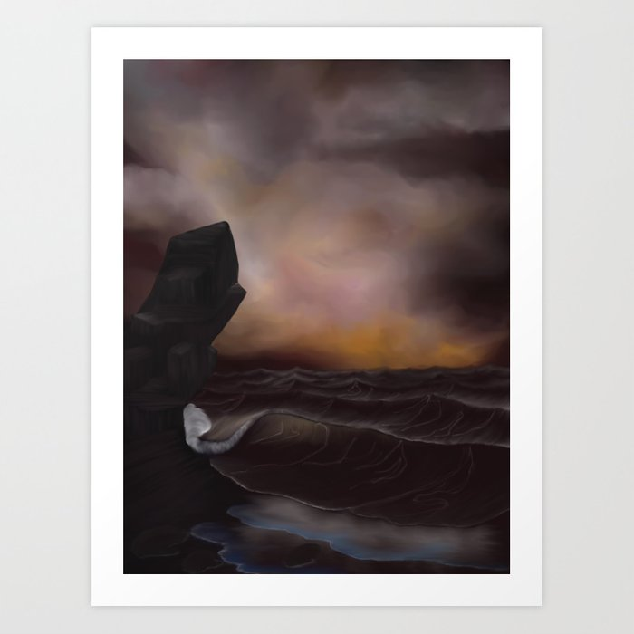 A Stormy Ocean Art Print
