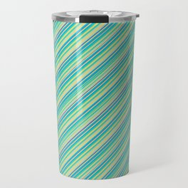 Lime Inclined Stripes Travel Mug