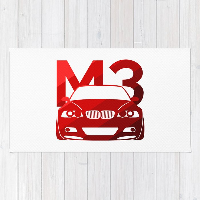 Bmw E46 M3 Classic Red Rug By Vehicle Society6
