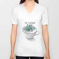 succulent V-neck T-shirts featuring Sexy Succulent by wildpink
