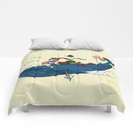 Whale girl Comforters