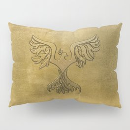 Phoenix Bird Gold Embossed Pillow Sham