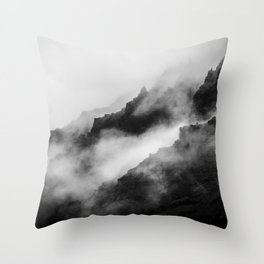 Foggy Mountains Black and White Throw Pillow