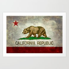 Californian state flag, the Bear flag in retro grunge Art Print