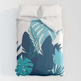 Modern Blue Leaves Graphic Contemporary Art Comforters