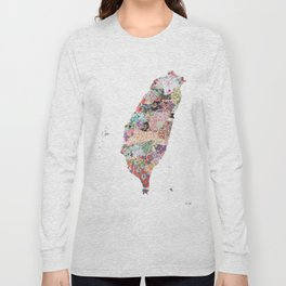Taiwan map portrait Long Sleeve T-shirt