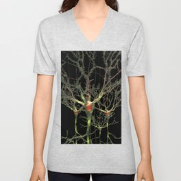 Neurons Green Brain Cells with Glowing Nerve Impulses Unisex V-Neck