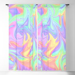 Marbled Pastel Rainbow Abstract Design Blackout Curtain