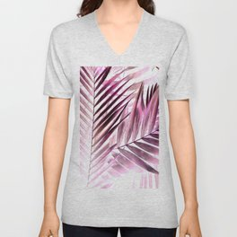 Purple leaves tropical pattern Unisex V-Neck