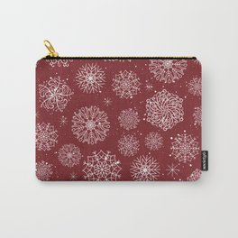 Assorted Snowflakes On Red Background Carry-All Pouch
