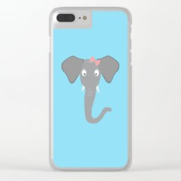Elephant head with pink ribbon T-Shirt Clear iPhone Case