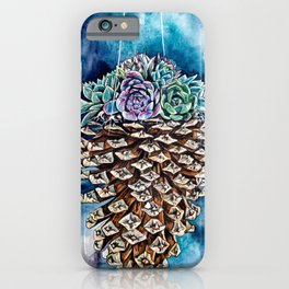 Pine cone and succulents, blue and green flowers, watercolor painting iPhone Case