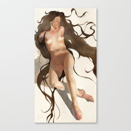 Long Hair Nude Woman Female in Watercolor Lying Down Canvas Print