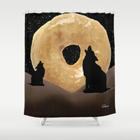 murakami Shower Curtains featuring Donut Howl by Geni