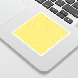 Yellow with White Squiggly Lines Sticker