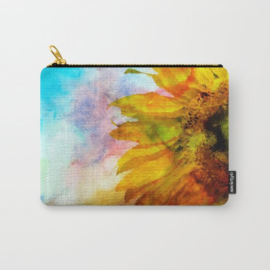 Sunflower on colorful watercolor background- Flowers on #Society6 Carry-All Pouch