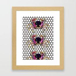 Lucky Crab Auspicious Hexagon Pattern Framed Art Print