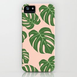 Monstera with pink background iPhone Case