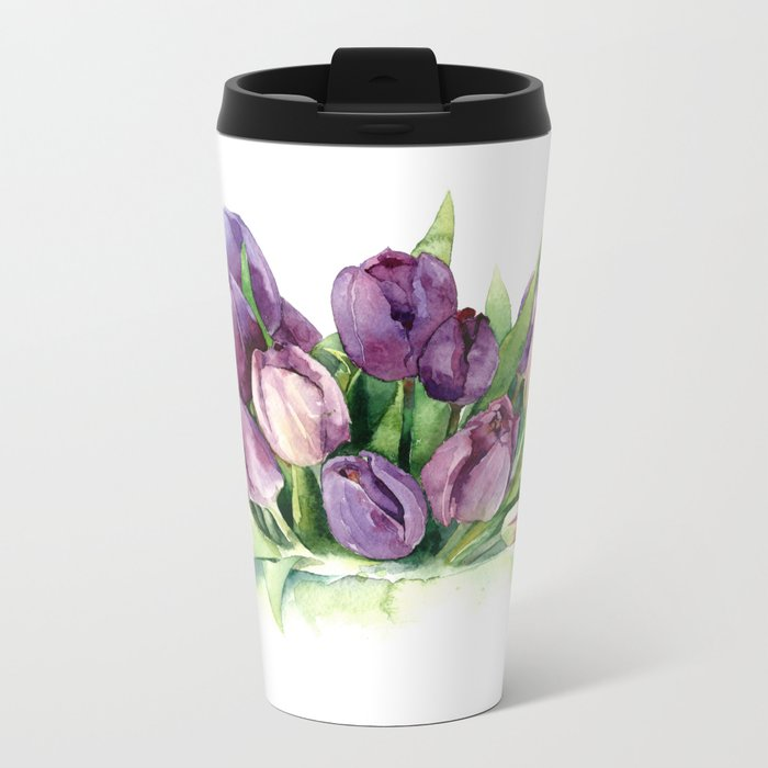 Watercolor bouquet of tulips Metal Travel Mug